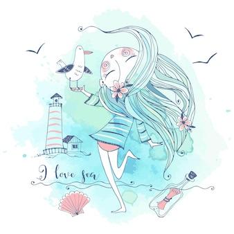 Ragazza carina in riva al mare con un uccello gabbiano. grafica e acquerelli. vettore.
