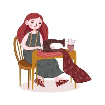 Illustrazione di cucito ragazza carina