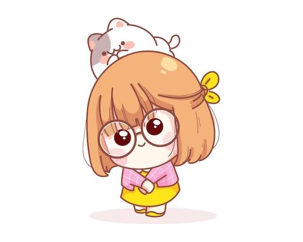 Illustrazione di cartone animato allegro timido ragazza carina
