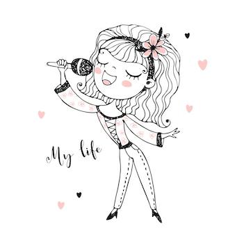 Ragazza carina canta una canzone nel microfono. nero bianco