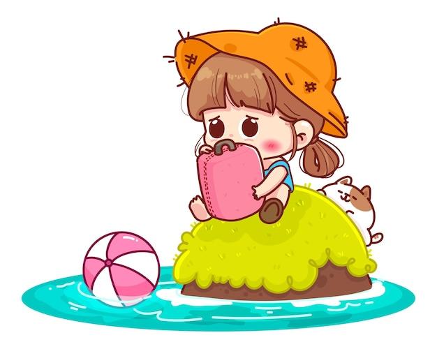 Ragazza carina seduta solitaria abbracciando una valigia su un'illustrazione di cartone animato isola deserta