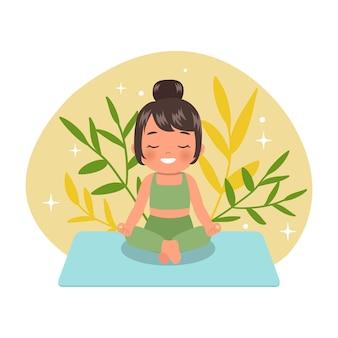 Ragazza carina seduta e meditando per uno stile di vita sano. donna che fa yoga. stile cartone animato piatto