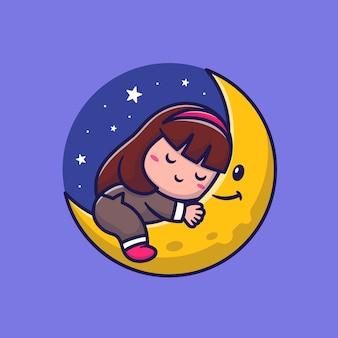 Ragazza carina che dorme sulla luna, personaggio dei cartoni animati