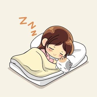 Ragazza carina che dorme con l'illustrazione del fumetto del gattino