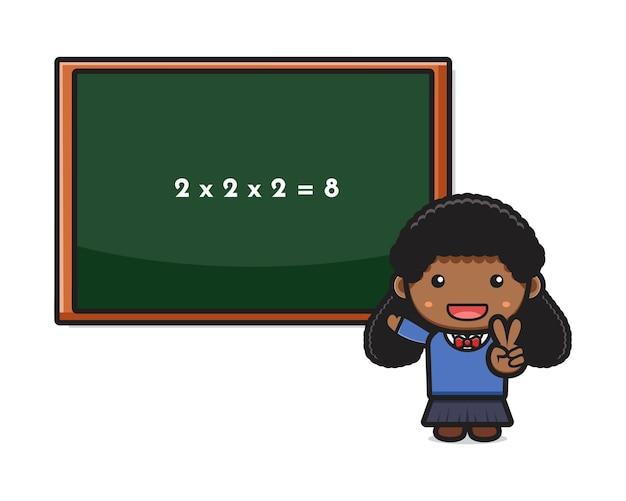 Studentessa carina facile facendo matematica icona del fumetto illustrazione vettoriale. design isolato su stile cartone animato piatto bianco.