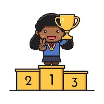 Carina studentessa in piedi sul podio che tiene il trofeo di rango uno icona del fumetto. design isolato su stile cartone animato piatto bianco.