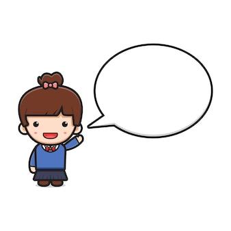 Studentessa carina con l'icona del fumetto del testo della bolla. design isolato su stile cartone animato piatto bianco.