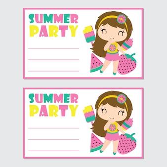 Elementi di ragazza ed estate carina per carta festa estiva