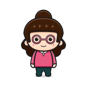 Illustrazione dell'icona di vettore del fumetto del carattere dell'insegnante della ragazza sveglia. disegno isolato su bianco. stile cartone animato piatto.