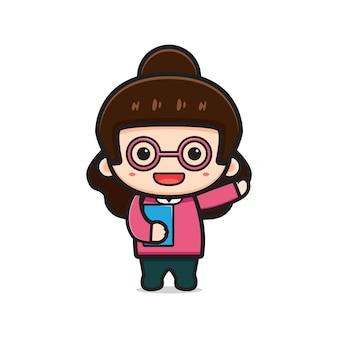 Insegnante di ragazza carina che tiene libro icona del fumetto vettoriale. disegno isolato su bianco. stile cartone animato piatto.