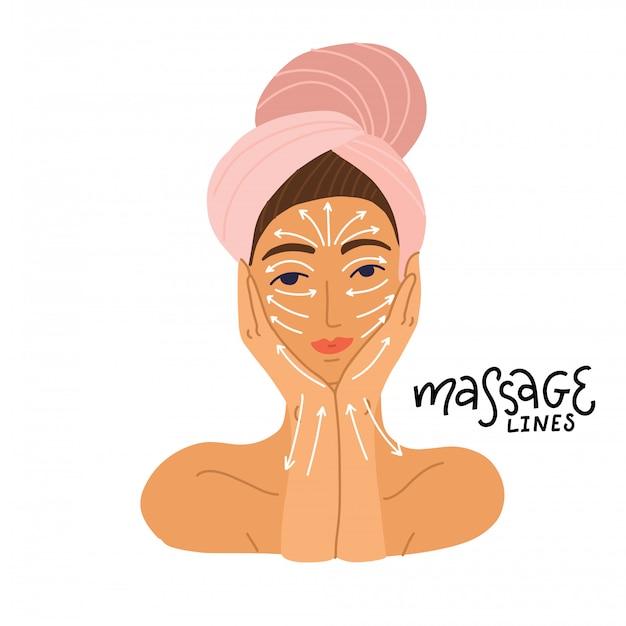Ragazza carina in asciugamano si prepara a fare massaggi secondo lo schema delle linee di massaggio sul viso