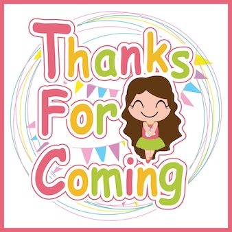 Cartoon sveglia vettore della ragazza per la carta di ringraziamento