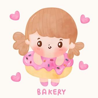 Fumetto dell'acquerello della ragazza sveglia con il dessert dolce della ciambella squisita per stile kawaii del caffè