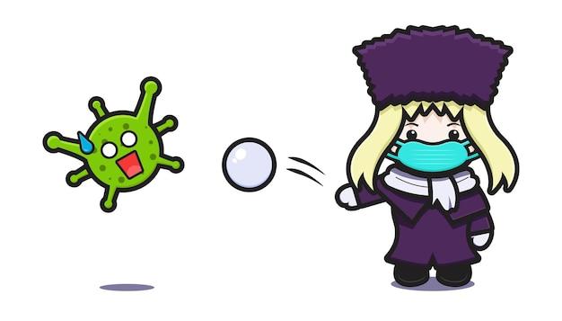 La maschera di usura della ragazza sveglia lotta contro l'icona di vettore del fumetto del virus disegno isolato su bianco. stile cartone animato piatto.