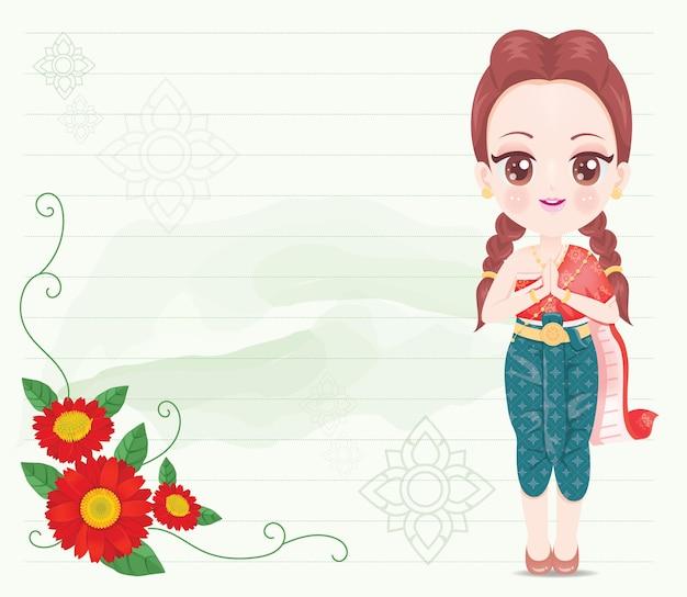 Ragazza carina che indossa un vestito tailandese rosso