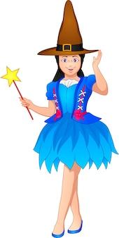 Ragazza carina che indossa il costume da strega