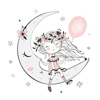 Ragazza carina con un palloncino seduto sulla luna.