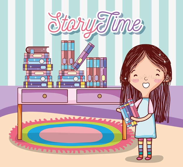 Ragazza carina con libri all'interno di cartoni animati Vettore Premium