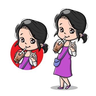 Ragazza carina con bubble boba tea cartoon
