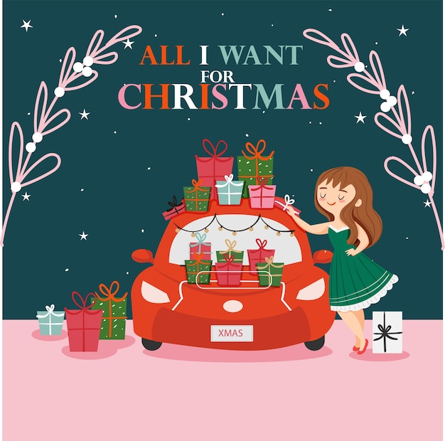 Ragazza carina con l'auto piena di confezione regalo per auguri di natale