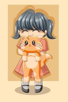 Ragazza carina con l'illustrazione del fumetto del giorno degli animali del gatto