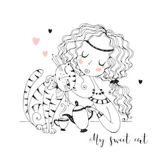 Ragazza carina con un gatto che beve il tè.