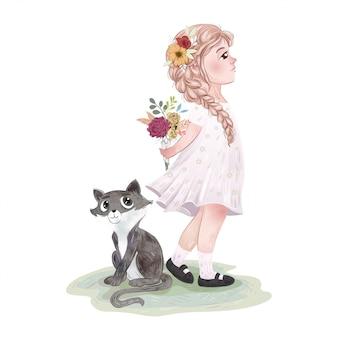 Ragazza carina con un gatto e gli amici Vettore Premium