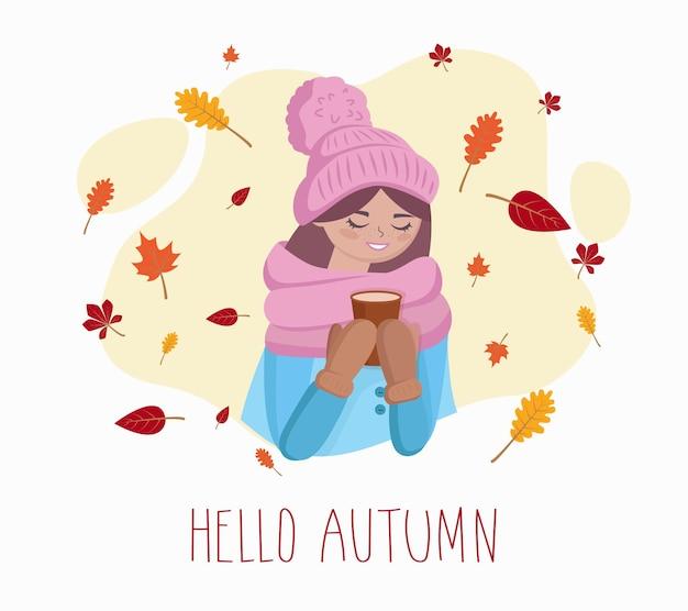 Ragazza carina con una tazza di caffè in mano in autunno. illustrazione vettoriale
