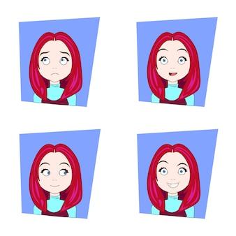 Cute girl with different facial emozioni set di giovani capelli rossi donna espressioni facciali