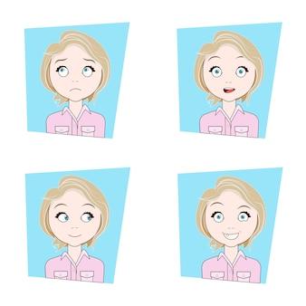Ragazza carina con diverse emozioni facciali set di espressioni facciali di giovane donna