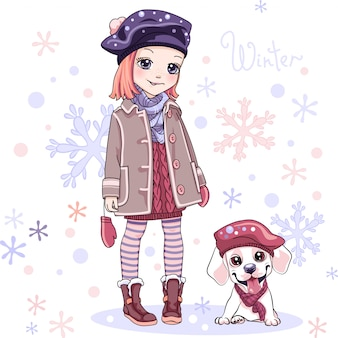 Ragazza carina con cane