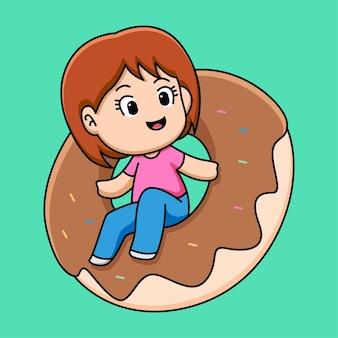 Ragazza carina con illustrazione di cartone animato ciambella