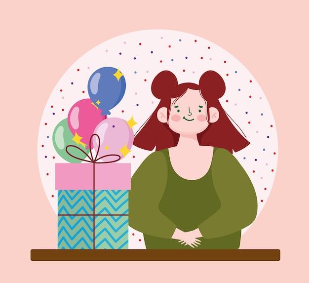 Ragazza carina con scatola di regali e palloncini festa celebrazione fumetto illustrazione