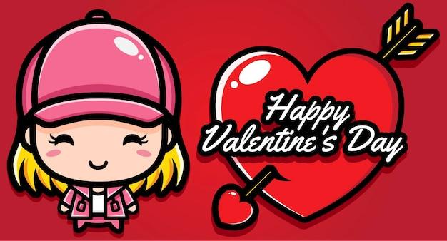 Ragazza carina con auguri di buon san valentino