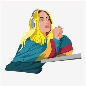 Ragazza carina con musica d'ascolto delle cuffie