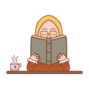 Ragazza sveglia con il fumetto dell'illustrazione di vettore del libro di lettura del hijab, illustrazione di istruzione musulmana che studia con il concetto del libro