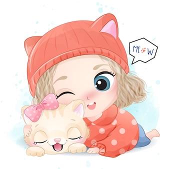 Ragazza sveglia con la piccola illustrazione del gattino