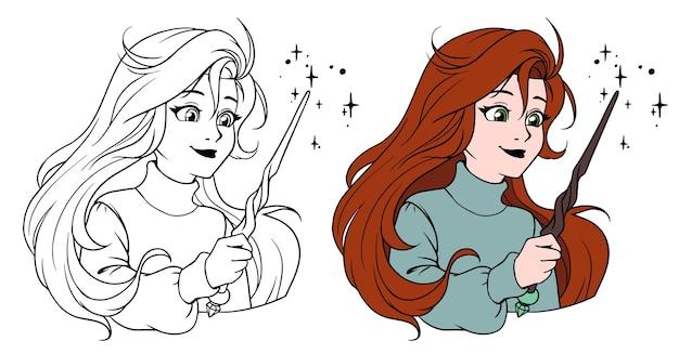 Ragazza carina con la bacchetta magica. illustrazione del fumetto disegnato a mano.