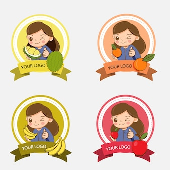 Ragazza carina con una varietà di frutta per il design del logo del negozio