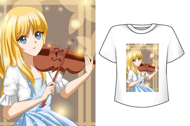Ragazza carina con t-shirt violino