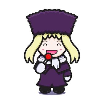La ragazza sveglia con il carattere della mascotte del costume di inverno mangia l'illustrazione dell'icona del fumetto di vettore del lecca-lecca. disegno isolato su bianco. stile cartone animato piatto.