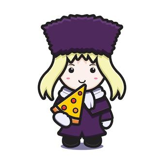 La ragazza sveglia con il carattere della mascotte del costume di inverno mangia l'illustrazione dell'icona del fumetto di vettore della pizza. disegno isolato su bianco. stile cartone animato piatto.