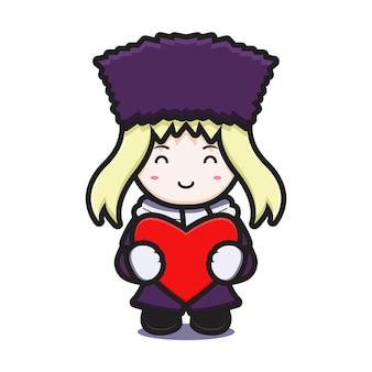 Ragazza carina con il personaggio della mascotte del costume invernale che tiene il cuore rosso icona del fumetto disegno isolato su bianco. stile cartone animato piatto.