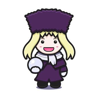 Ragazza carina con il personaggio della mascotte del costume di inverno che tiene l'icona del fumetto di vettore della palla di neve. disegno isolato su bianco. stile cartone animato piatto.