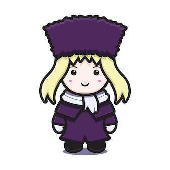 Ragazza carina con il personaggio della mascotte del costume invernale con l'icona del fumetto di vettore faccia felice. disegno isolato su bianco. stile cartone animato piatto.