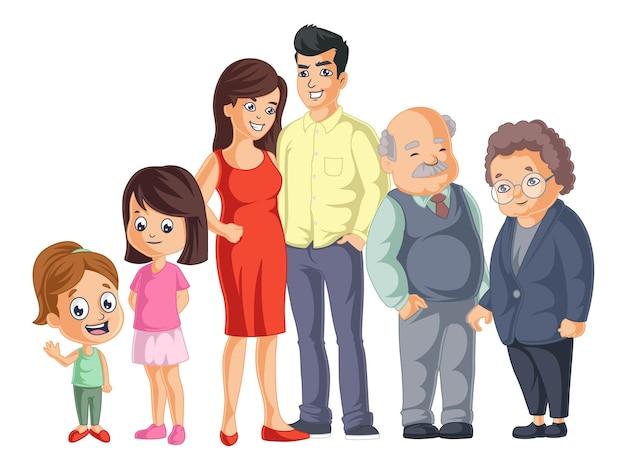 Ragazze carine sono in piedi con la sua famiglia torna a scuola illustrazione