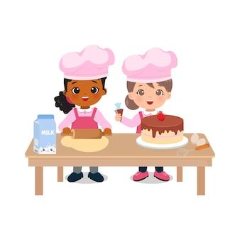 Ragazze carine che fanno una torta su un tavolo design piatto vettoriale dei cartoni animati
