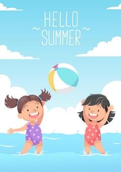 Ragazze carine che giocano a pallone da spiaggia ciao estate Vettore Premium