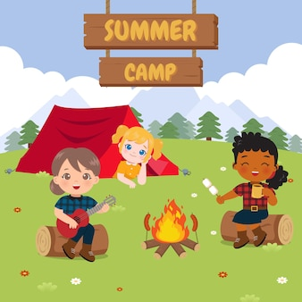 Ragazze carine che si rilassano in campeggio illustrazione del campo estivo design piatto vettoriale del fumetto