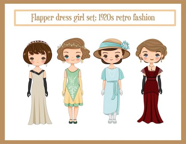 Ragazze carine con set di flapper, cartone animato di moda retrò degli anni 1920